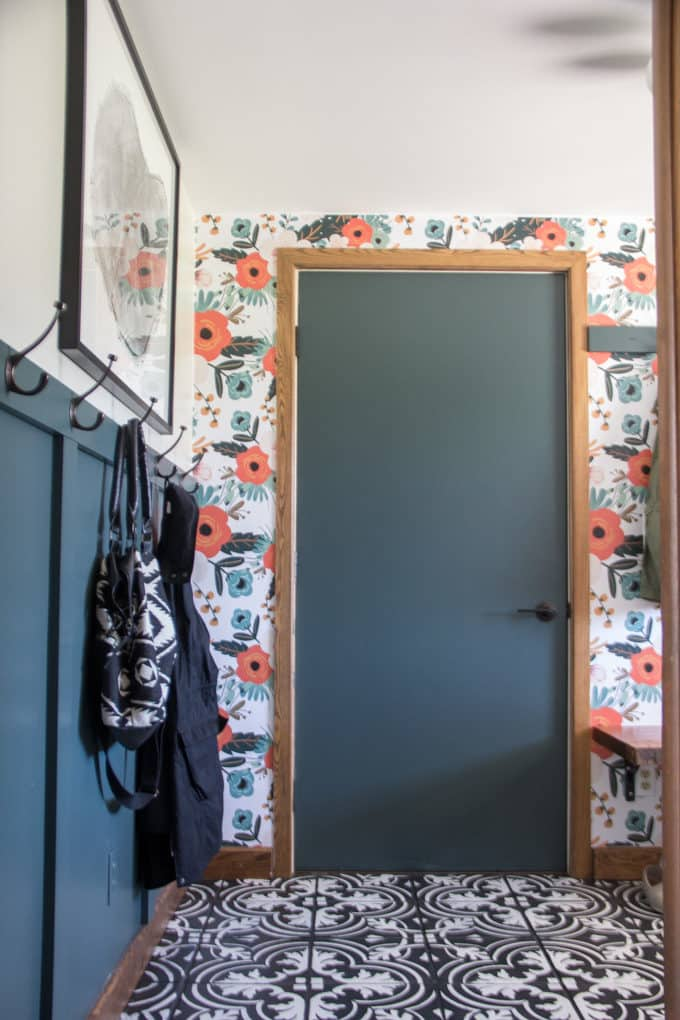 Black and White Cement Tile and Green Door