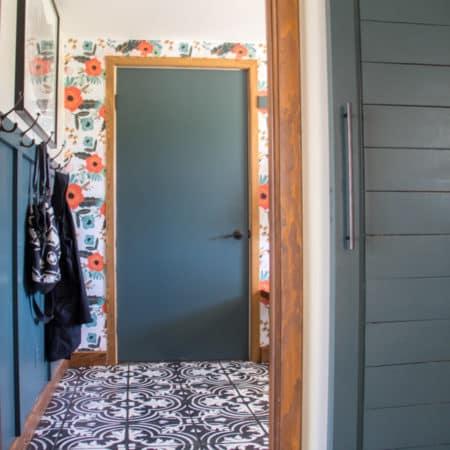 Modern Mudroom with Barn Door