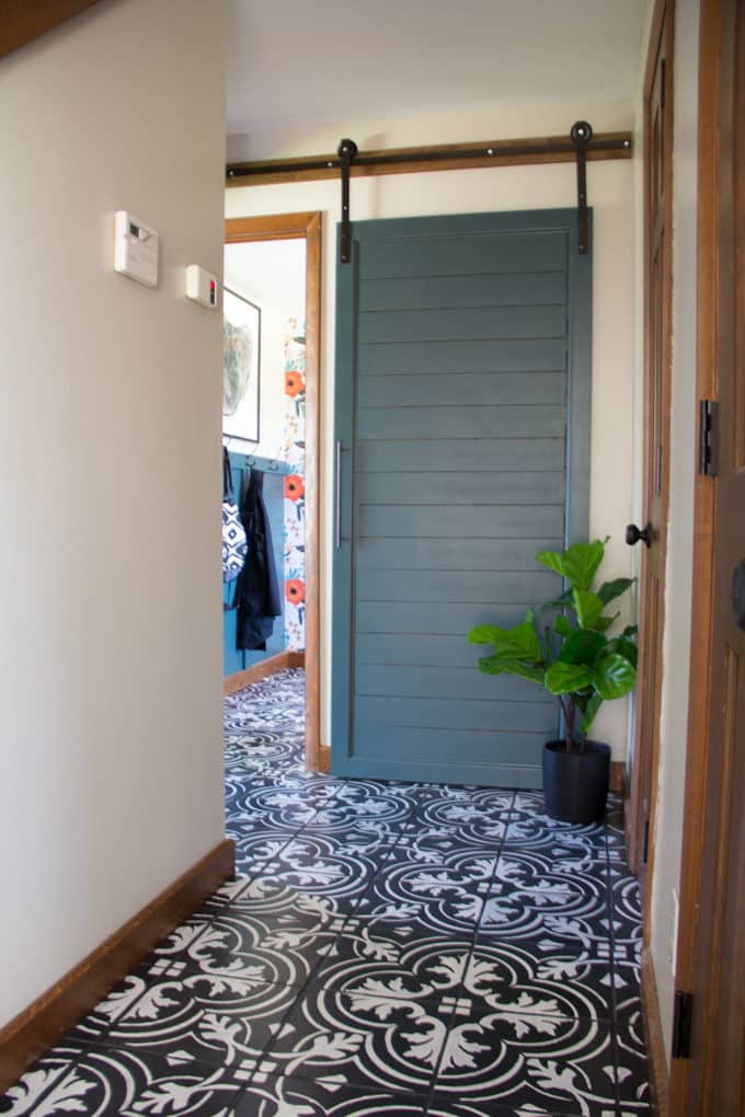 Green Barn Door to Mudroom