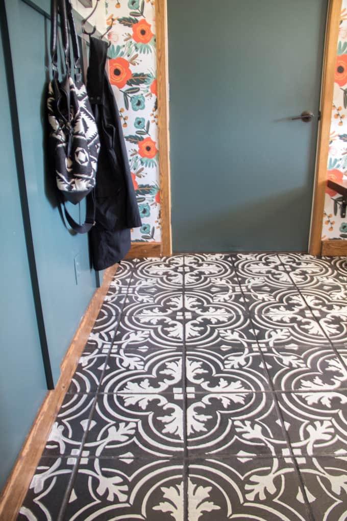 Steciled Cement Tile Floor