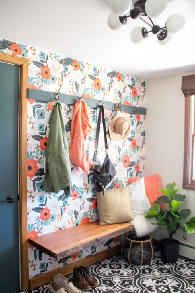 Mudroom with Wallpaper Hook Wall