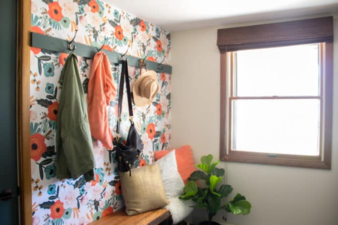 Mudroom with Floral Wallpaper