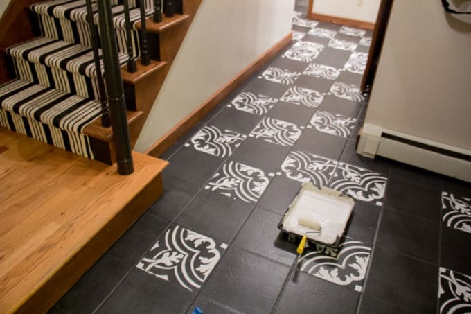 Faux Cement Tile Painted Floors - Bright Green Door