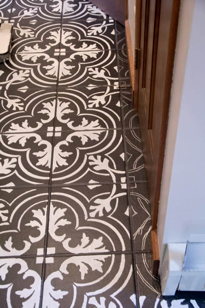 Black and White Stenciled Floor