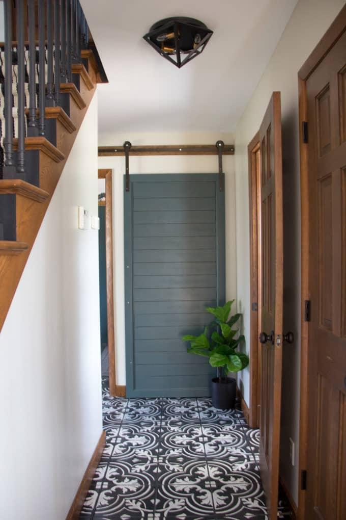 Green Barn Door with Cement Tile Floor