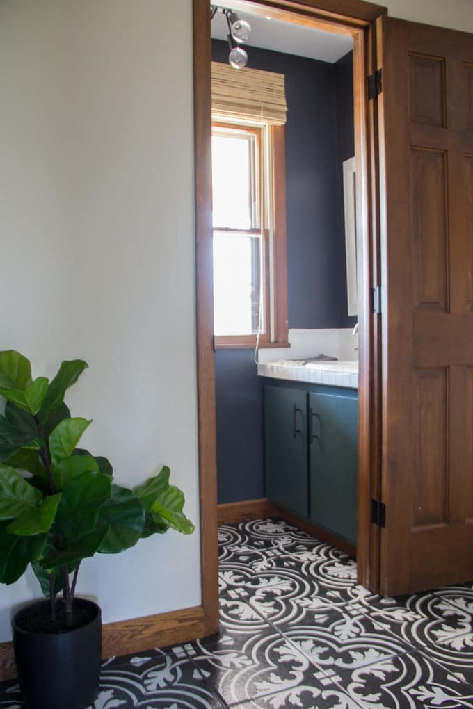 Black and Green Bathroom with Cement Tile