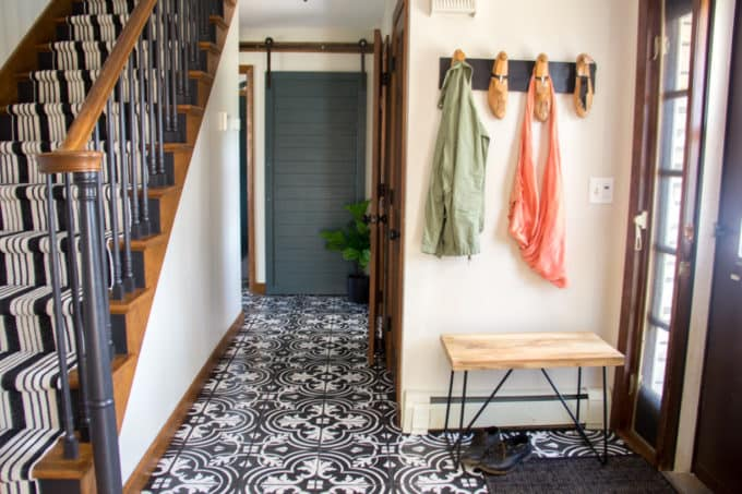 Faux Cement Tile Painted Floors Bright Green Door - Repainting floor tiles