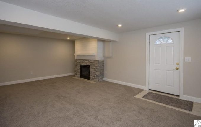 Basement with Fireplace
