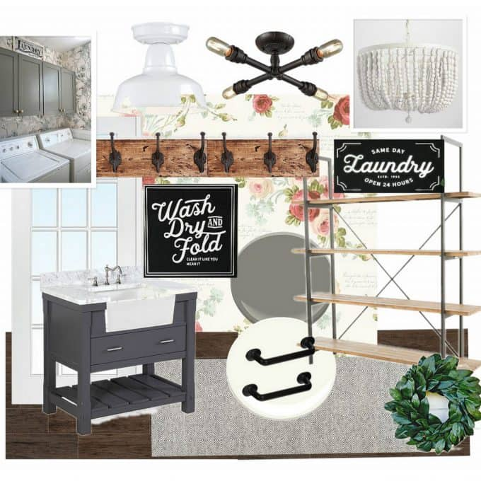 Vintage Farmhouse Laundry Room Mood Board