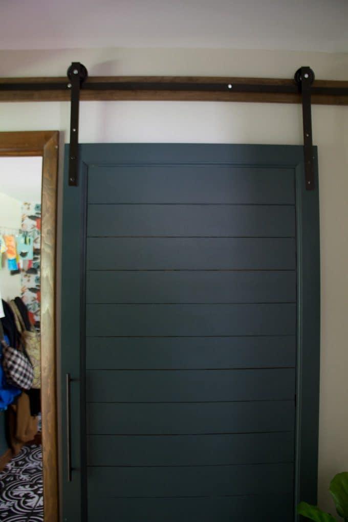 Green Painted Shiplap Barn Door