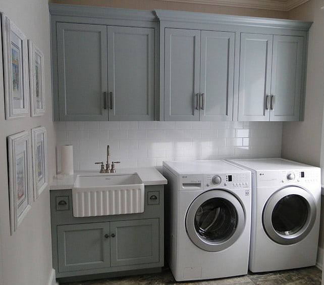Grey Laundry Room With Farmhouse Sink