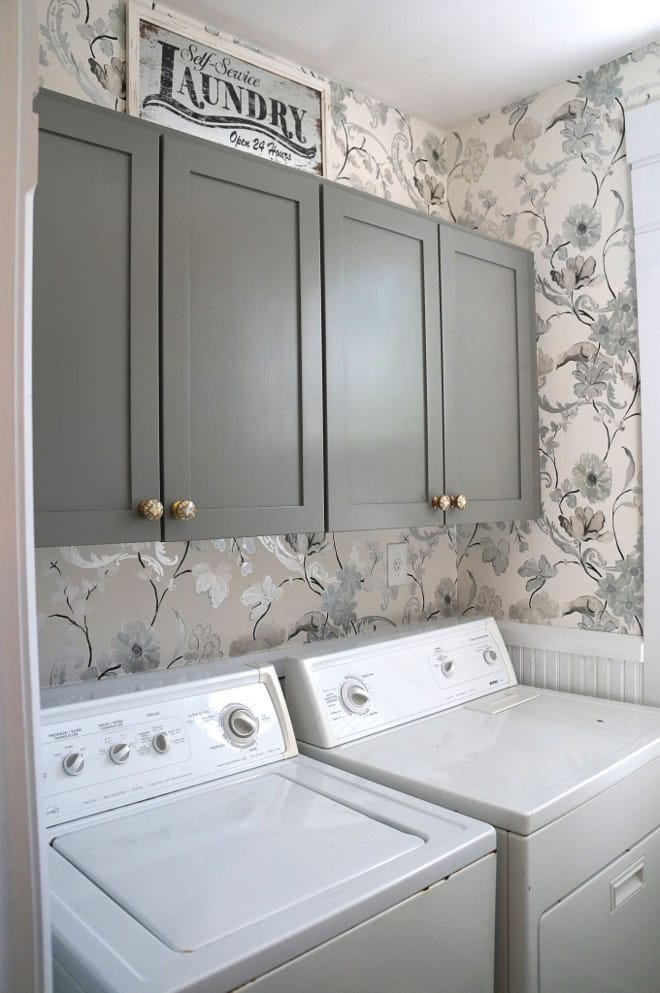 Grey cabinets with floral Wallpaper