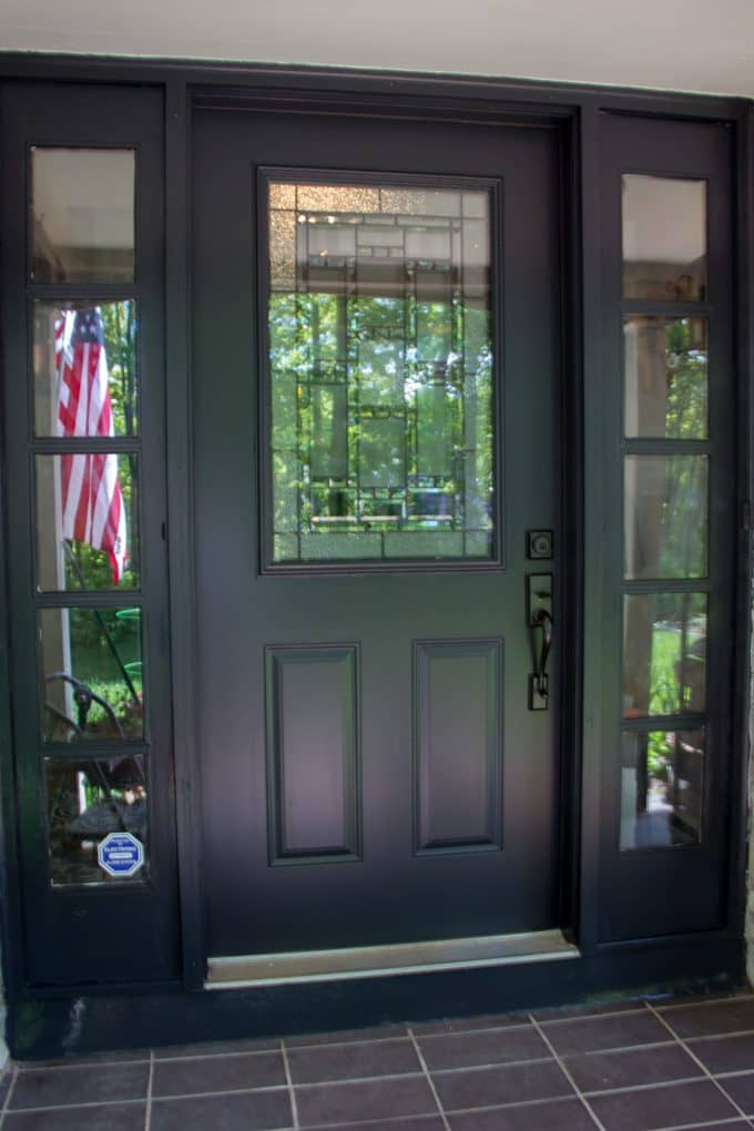 Painted Black Storm Door and Sidelights
