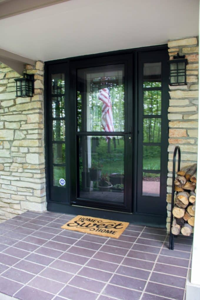 Black Storm Door and Painted Sidelights