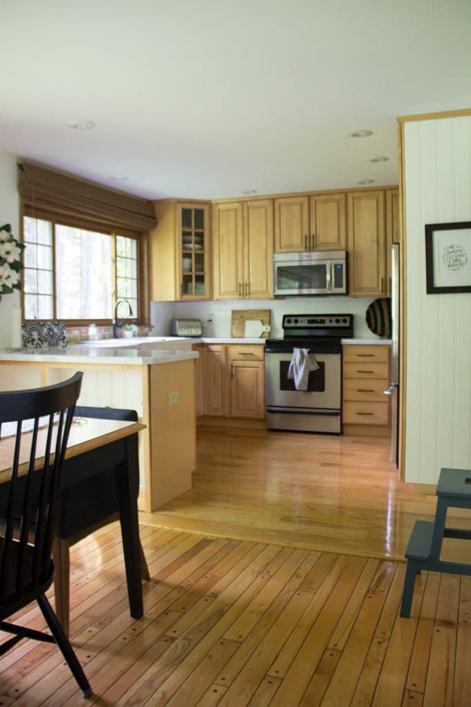Kitchen with Unpainted Wood Cabinets
