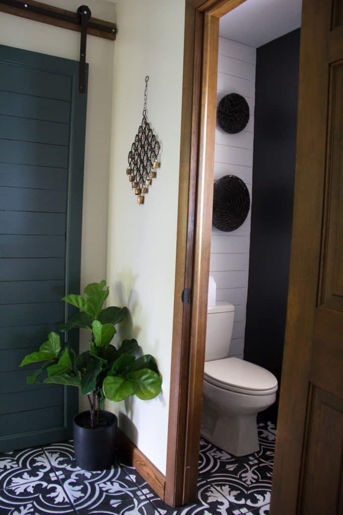 Cement Tile Floors in Hallway and Bathroom