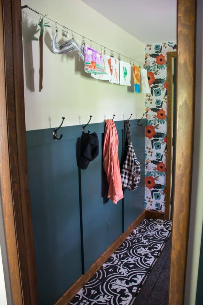 Modern Mudroom with Accent Wall