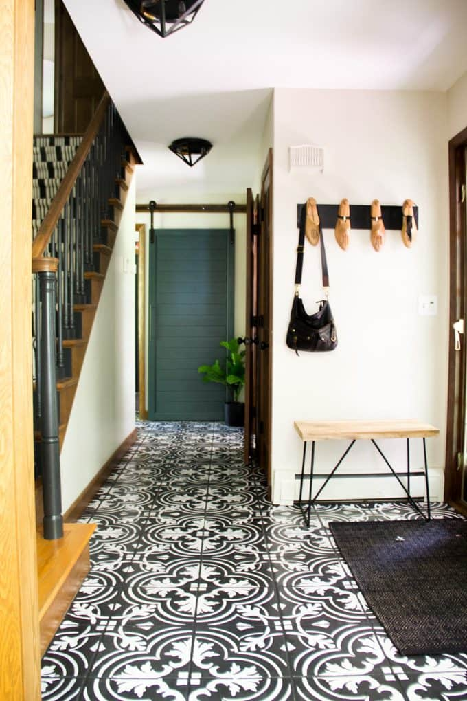 Entry Hallway with Painted Cement Tile