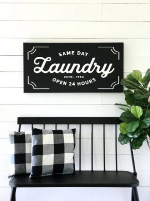 vintage laundry letter print