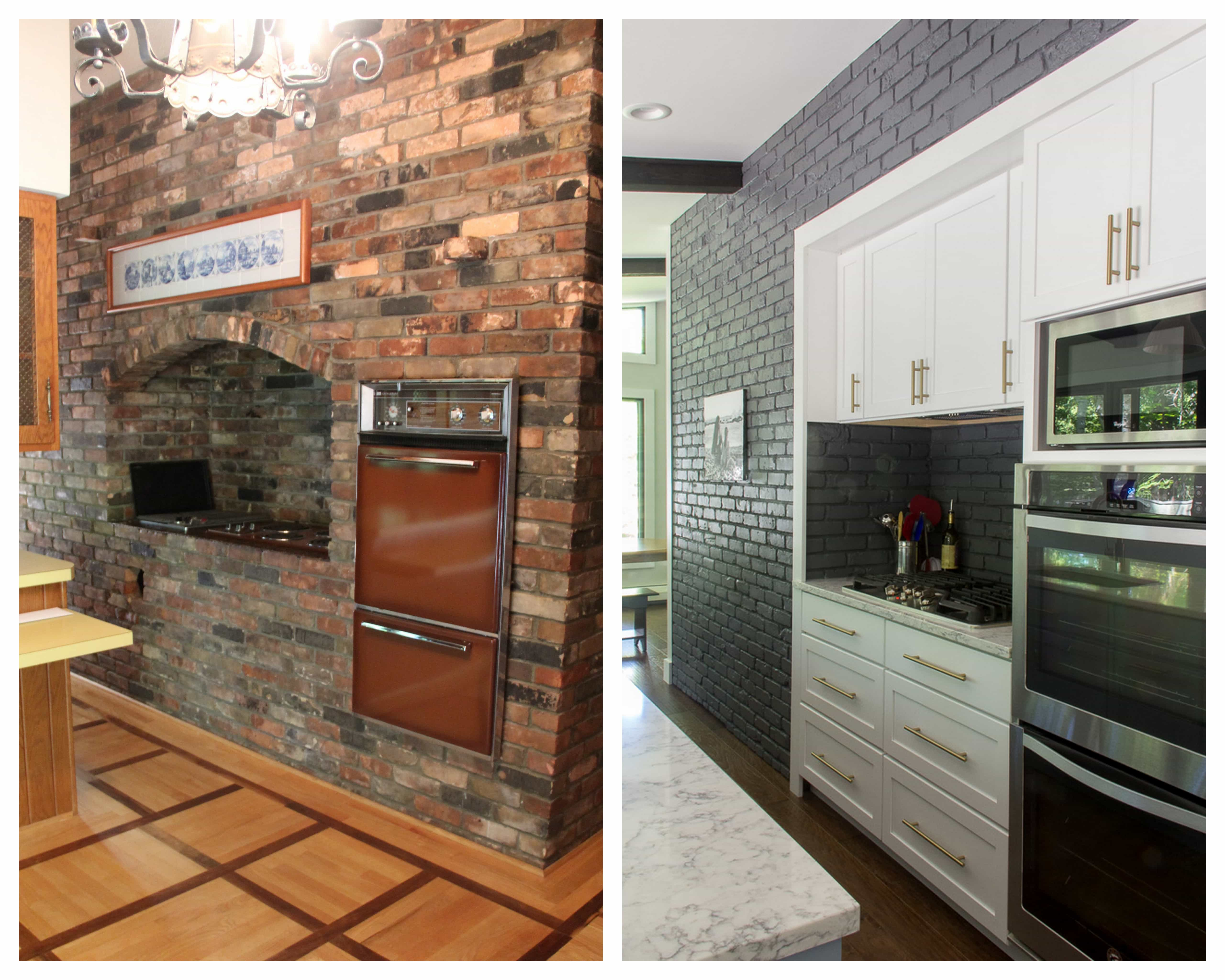 Retro Renovation Brick Kitchen Wall