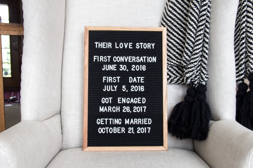 Wedding Shower Letterboard
