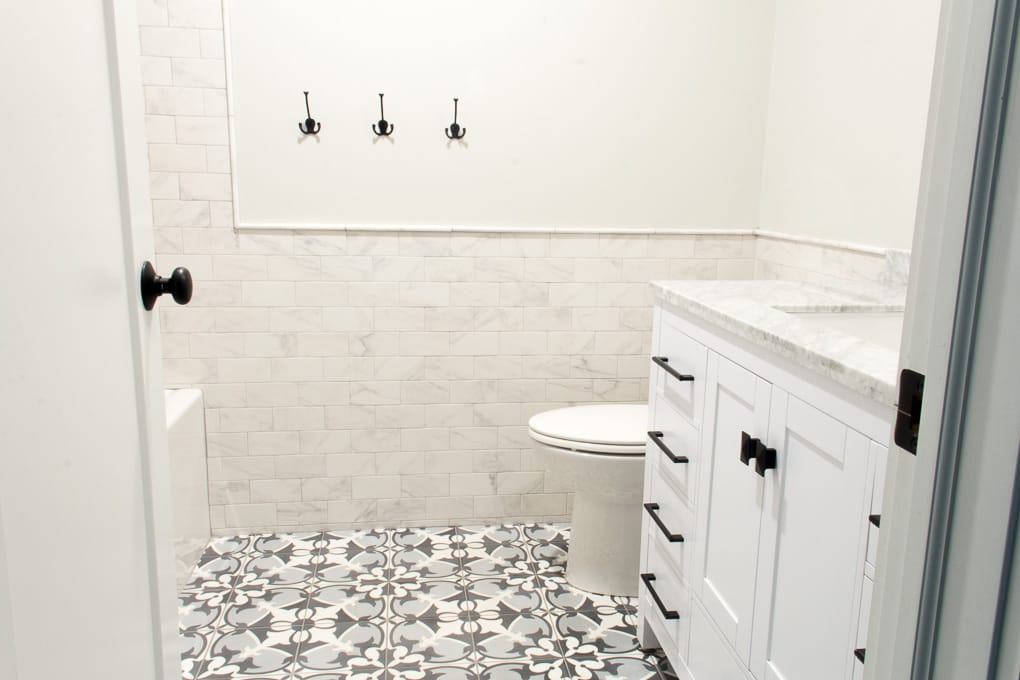 Blue Cement Tile in Bathroom