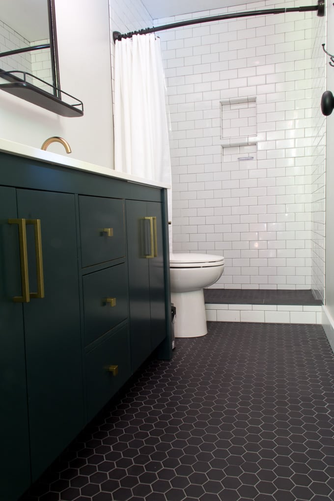 Deep Green Vanity in Modern Bathroom