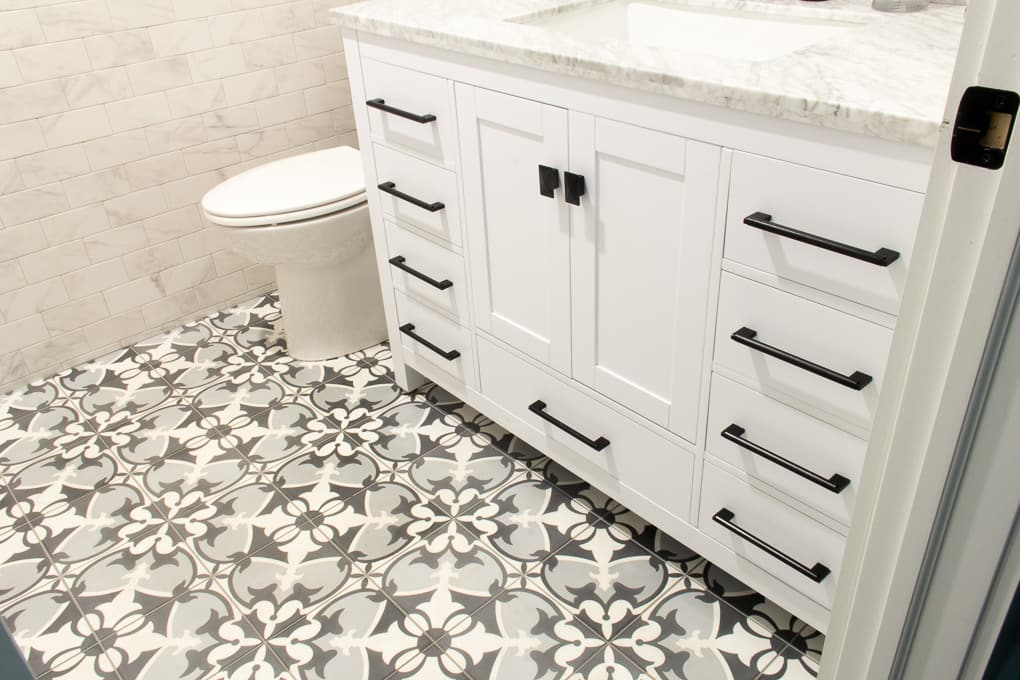 Modern Cement Tile in Bathroom