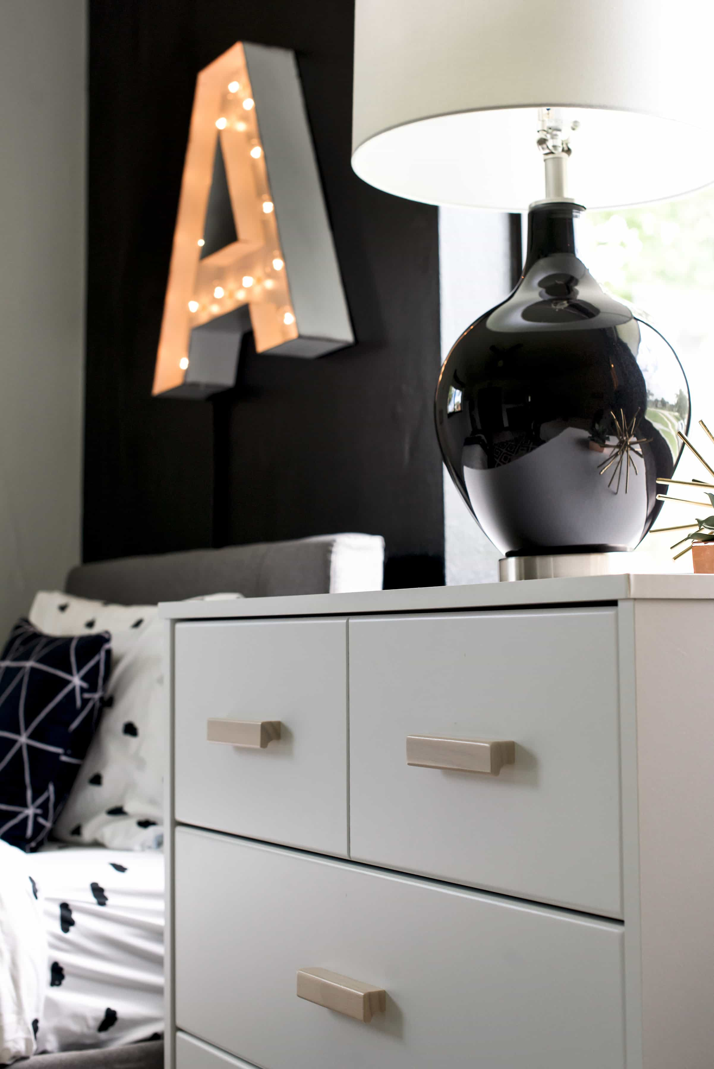 Black and White Modern Kids Room - Bright Green Door