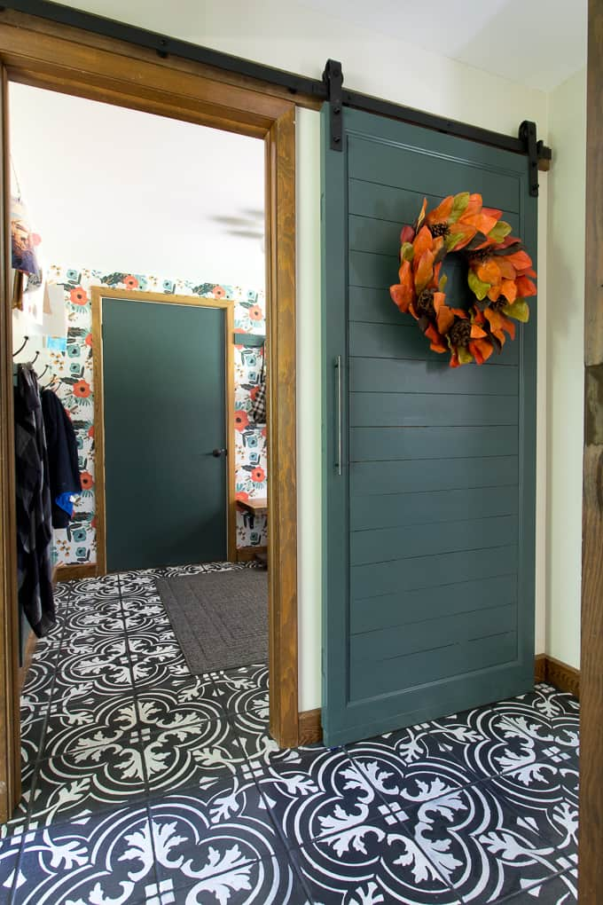 Faux Cement Tile and Green Barn Door