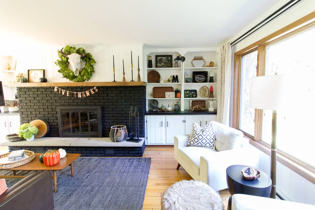 Black Fireplace with Built Ins