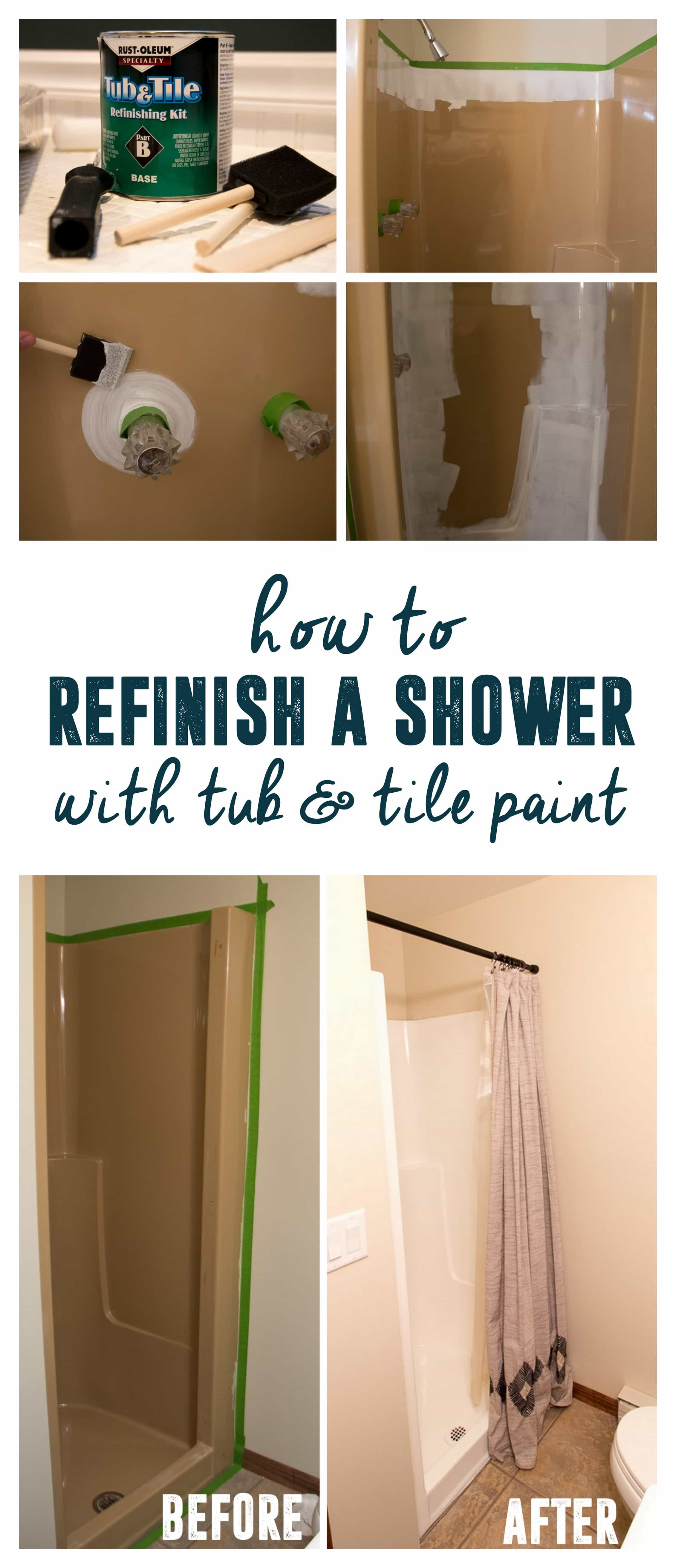 How to use Tub and Tile paint to Refinish a Shower - Bright Green Door