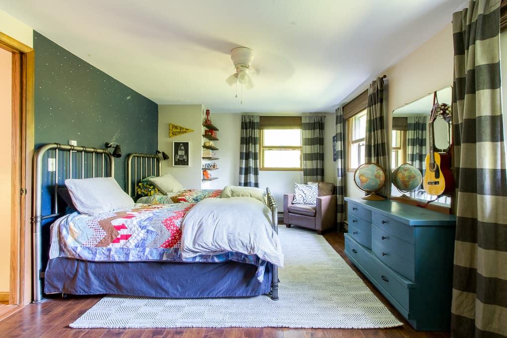 Vintage Modern Boys Shared Bedroom