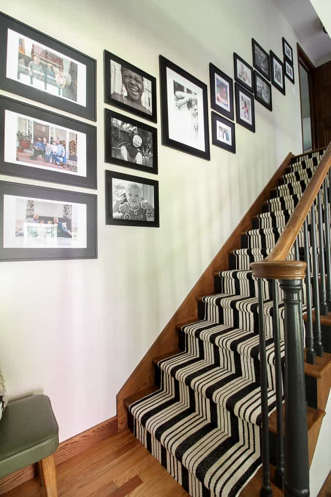 Gallery Wall on Stairs with Carpet Runner