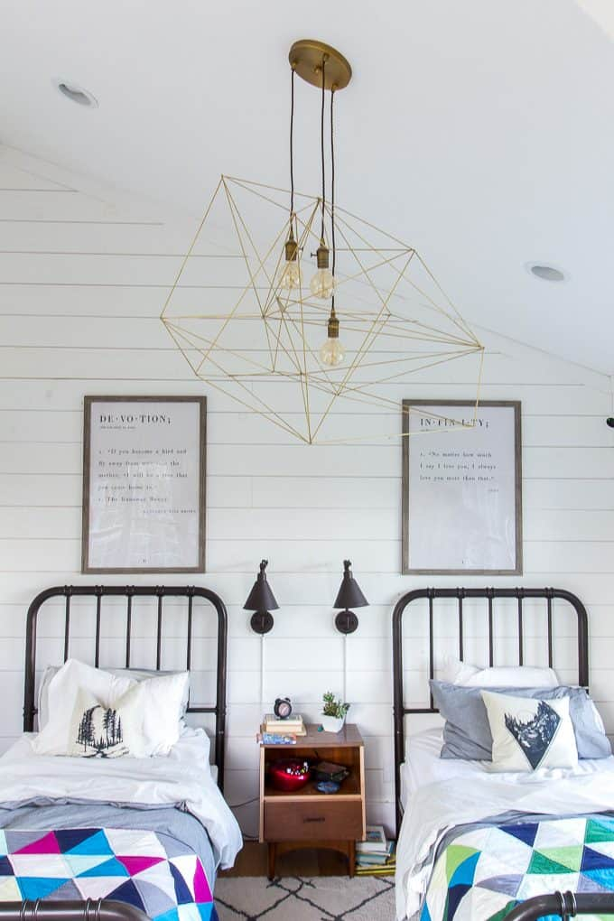 Modern Shared Kids Bedroom with Brass Light