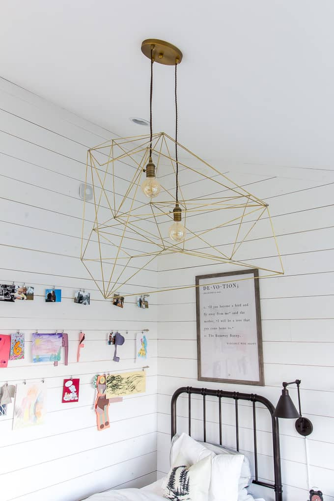brass simple diy modern geometric ceiling light in shared