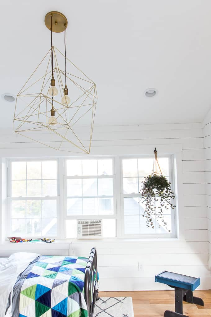 Modern Kid's Room with Shiplap and Brass Light