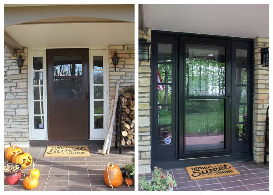Modern Porch Light Update Black Painted Front Door with Sidelights