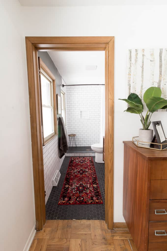 Master Bathroom with Vintage Rug