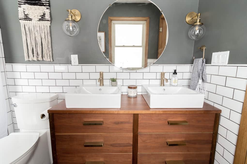 Vintage Modern Bathroom with Brass Fixtures
