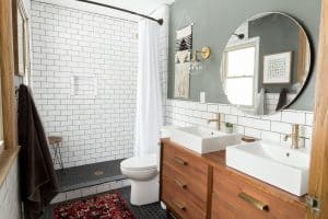 Subway Tile Bathroom with Dresser