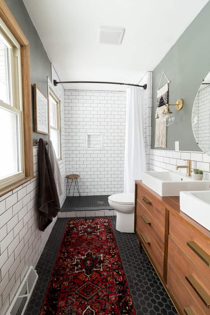bathroom subway tile. Modern Bathroom With Subway Tile