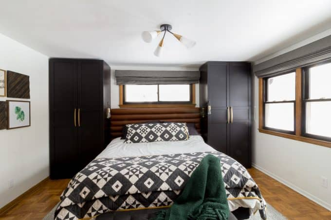Modern Master Bedroom with QUilt and Wardrobes