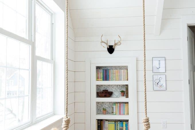 Hidden Bookcase door with swing in room