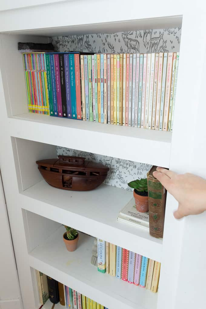 Lever for Hidden Door Bookshelf & DIY Hidden Doorway Bookcase - Bright Green Door