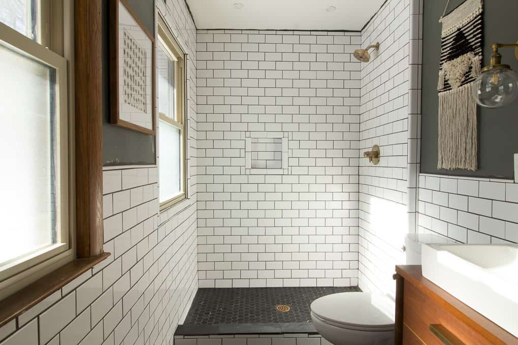 Our Modern Subway Tile Bathroom - Bright Green Door