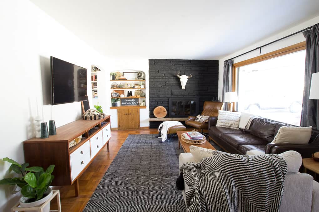 Modern Living Room with Black Fireplace