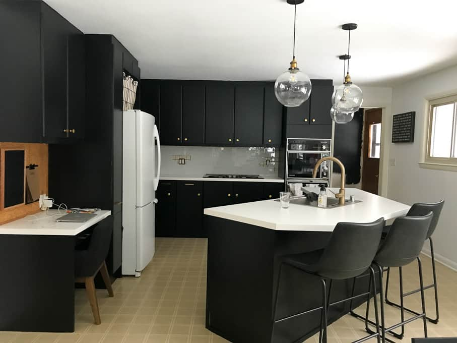Kitchen with Black Painted Cabinets