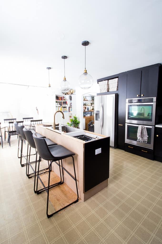 black cabinets in modern kitchen