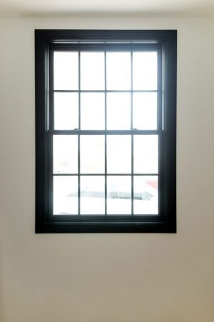 Black window with black trim